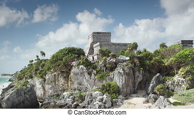 time-lapse of the mayan ruins at tulum, mexico the mayans...