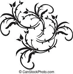 unique swirl floral elements - Black swirl floral flora...