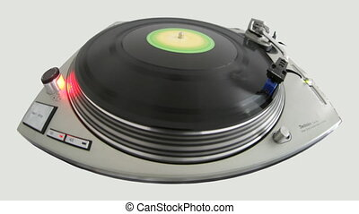 fisheye close-up of a dj record player