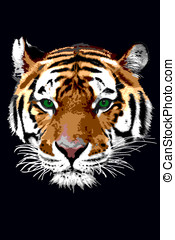 tiger - a painted tiger head