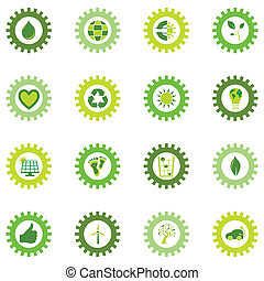Set of gear wheel icons from bio eco and environmental...