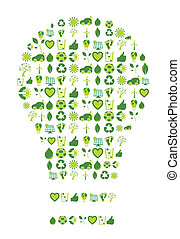 Light bulb filled with bio eco environmental icons and...
