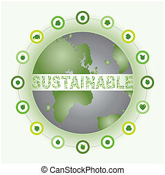 Sustainable world surrounded and made of bio eco icons -...