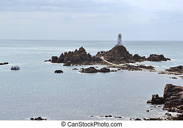 UK, Jersey - Jersey, La Corbiere lighthouse with path -...
