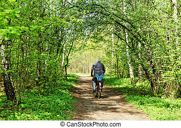 Biker in the forest