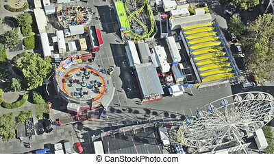 amusement park with ferris wheel from above