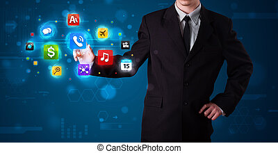 Businessman pressing various collection of buttons