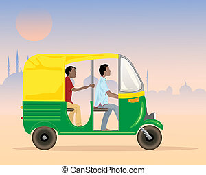 tuk tuk taxi - an illustration of a tuk tuk taxi in india...