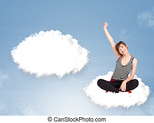 Pretty young girl sitting on cloud and thinking of abstract...