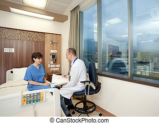 Doctor female patient hospital consulting