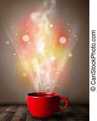 Coffee mug with abstract steam and colorful lights
