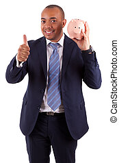 African American business man holding a piggy bank making...