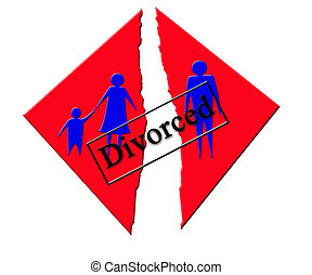 Vector symbolizing divorce in family - illustration...