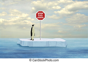 Stop Global Warming - Penguin looking at Stop Global Warming...