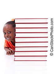 Cute black african american little girl hidden behind a stack of books, isolated on white background - African people - Children