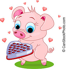 love_pig - Cute little piglet holding a heart shape...