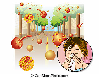 Pollen allergy - medical illustration of the effects of the...