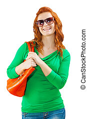 a young female with bag