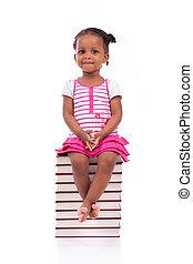 CÙte, pretas, africano, americano, pequeno, menina,...