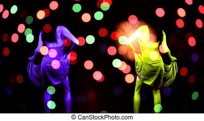 sexy female dances with party abstract background