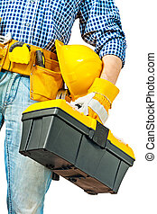 caja de herramientas, mano, trabajador