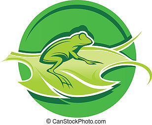 frog on a green leaf stylized on a white background