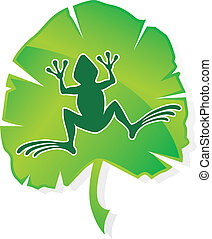 green frog leaf - green frog on a leaf vector stylized...