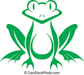 fun green stylized frog vector on a white background