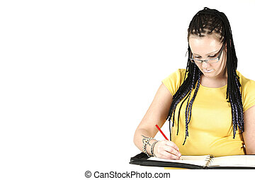 Writting planes - Manageress with braids and tattoos