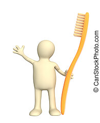 Tooth-brush - 3d person - puppet with an orange tooth-brush...