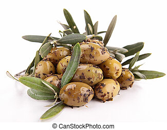isolated green olives