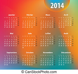 French colorful calendar for 2014 year