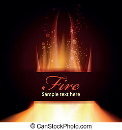 Fire flame on black background with Text space, Zip includes...