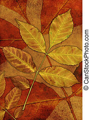 Grunge background with leafs - Vertical grunge background...