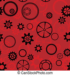 red gear - seamless pattern as black and red gear