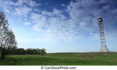 movement of clouds over a field