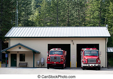 Forest Fire Station - A fire station in a remote forest