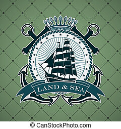 Vintage label with a nautical theme - The vector image...