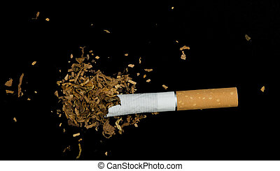 Crumpled cigarette and tabaco