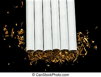 Arranged in a row cigarettes and scattered tabaco