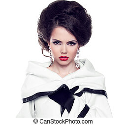 Fashion beautiful woman model posing with hairstyle and...