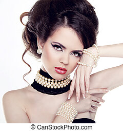 Jewelry and Hairstyle Fashion portrait of beautiful woman...