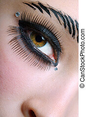 closeup of a black makeup with fake