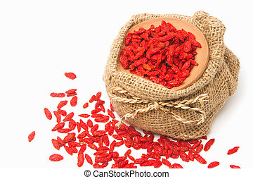 red dried goji berries Lycium Barbarum , wolfberry