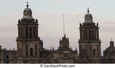 time-lapse of the main cathedral in mexico city, located on...