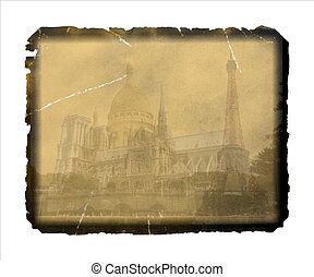 Vintage, grungy postcard from Paris