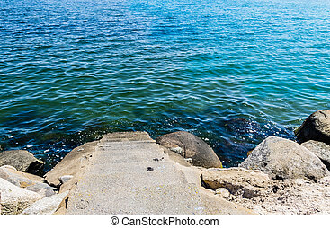 Steps to the water - Stones and a stair down to the water at...