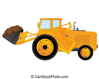 Earth mover - Excavator, earth mover over white background