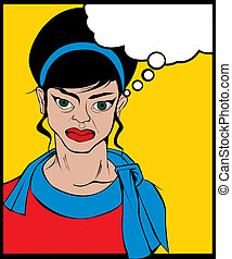 Angry woman - Retro looking angry woman Pop Art illustration...