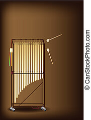 A Musical Tubular Bells on Dark Brown Background - Music...